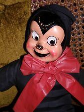 Vintage Halloween Stuffed Doll Black Mouse Plastic Face