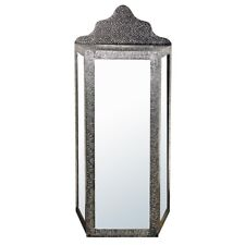 BLACK SILVER EMBOSSED MIRRORED GLASS FLOOR STANDING CABINET (T1200) BALI