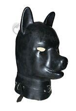 BLACK LATEX PUPPY HOOD RUBBER DOG MASK THICK 2MM FETISH SMALL FULL HEAD PADLOCK