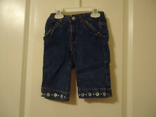 Nannette Girl's size 2T Blue Jeans Embroidered Flowers Front Hemline