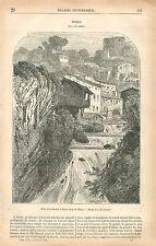 Bord de la Rivière la Durolle à Thiers Puy-de-Dôme Auvergne GRAVURE  PRINT 1876