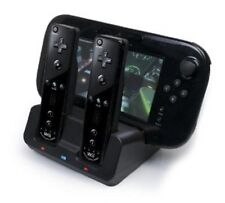 BLACK Dual Docking Station + 2x Batterie + Cavo per Wii e Wii U Remote Gamepad