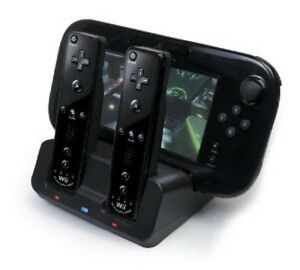 BLACK DUAL DOCKING STATION + 2x BATTERIES + CABLE FOR WII & WII U REMOTE GAMEPAD