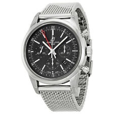 Breitling Transocean Black Dial Stainless Steel Mens Watch AB045112-BC67SS