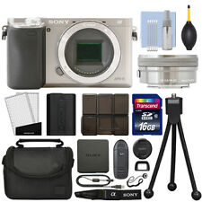 Sony Alpha a6000 Mirrorless Digital Camera with 16-50mm Lens Silver + 16GB Kit