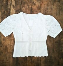 H&M Off White Linen Broderie Anglaise Short Sleeve Top Blouse Size 10 38 Vintage
