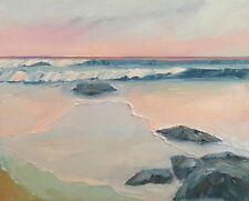 PINK GLOW Original Seascape Surf Expression Oil Painting 16x20 102219 KEN