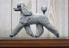 Poodle Dog Figurine Sign Plaque Display Wall Decoration Grey