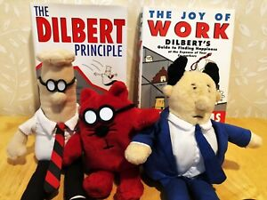 A Dilbert Bonanza - lot of 2 books and 3 doll characters -
