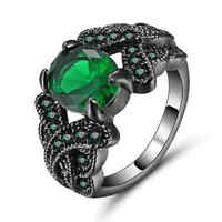 Size 7 Green Emerald Zircon Ring Women's 10Kt black Gold Filled Wedding Band