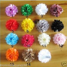 Lot of 14 Chiffon Flower Hair Clips Baby Toddler Girls Satin Chiffon Lace Clips