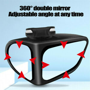 Black Blind Spot Mirror Wide Angle Rear View Car Right Side Mirror Adjustable