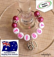 Deluxe 60th Birthday Wine Glass Charm - Personalised/Any name Party Gift Ideas