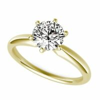 2ct Round Cut Classic Solitaire Engagement Promise Ring Solid 14k Yellow Gold