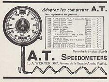 PUBLICITE  COMPTEUR A.T.  AT COMPTE TOURS  ACCESSOIRES  AUTOMOBILE AD 1913  -1H