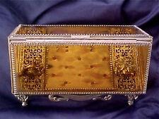Vintage Ormolu Filigree & Amber Beveled Glass Pyramid Casket CHERUBS JEWELRY BOX