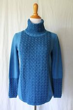 BELFORD Sweater Mediterranean Blue Pima Cotton Turtleneck Cableknit Pullover L