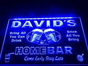 Custom Home Bar LED Neon Sign Light Up Drink Pub Beer Lager Personalised Plaque