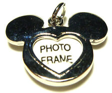 WALT DISNEY MICKEY MINNIE MOUSE EARS STERLING SILVER PHOTO FRAME CHARM PENDANT