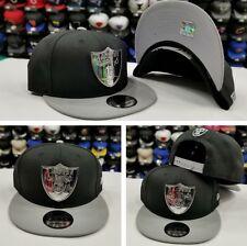 New Era Silver Metal Badge Shield NFL Oakland Raiders 950 Snapback hat Black