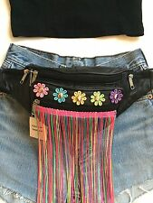 100% Leather Black Bum Bag, Fanny Pack, Daisy, Flowers, Neon Fringe - FESTIVAL