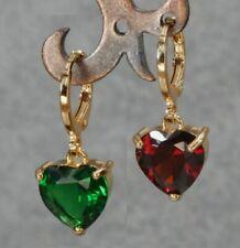 Corazon Rojo o Verde Aretes Largo Oro Amarillo GoldFilled. Gold Filled Earrings