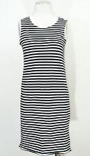 Ladies Monki black white striped raw edges dress size XS UK 8 RRP £20 cotton emo
