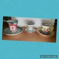 Tea Cup & Saucer Hand Painted Porcelain Lot of Three (3) Germany/France/Japan!