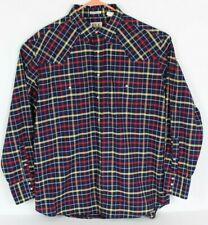 Ely Cattleman Mens XL Blue Plaid Pearl Snap Button Front Shirt Western L/S EUC