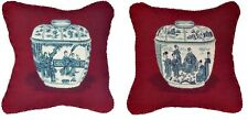 Pair of Handmade Wool Needlepoint Blue White Ming Dynasty Jar on Burgundy Pillow