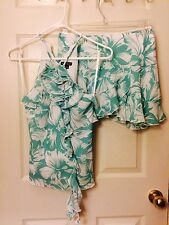 Xoxo Floral Flower Green White Set Top Small S Mini Ruffle Skirt 5 New