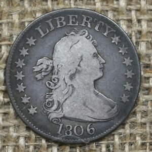 1806 F+ 25C Draped Bust Quarter, Original Surfaces, Problem Free
