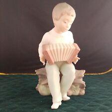 "Vintage Daisa Golden Memories Boy with Accordion porcelain figurine approx 7.25"""