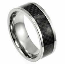 Titanium Fashion Ring with Black Carbon Fiber Accent Band, size 8 - in Gift Box