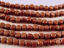 50 4x4mm Czech Glass Cube Beads: Amber