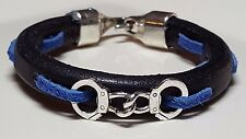 Thin Blue Line Black Leather with Blue Suede line Police bracelet & handcuffs TM