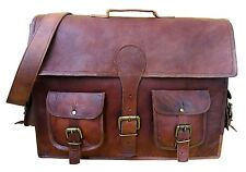 New Men's genuine vintage leather brown messenger shoulder computer laptop bag .