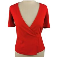 & Other Stories Size 8 Red Orange Short Sleeve Wrap Top NEW BNWT £35