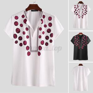 Mens African Dashiki Clothing V-Neck Long Sleeve Slim Fit Blouse T Shirt Summer