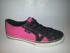 Vans Girls sz 3 Skate Boarding Fashion Sneakers Pink black TB5B Preowned
