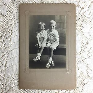 Antique Cabinet Card Photo Little Boys Brothers 1930s Rich Poor Depression Era
