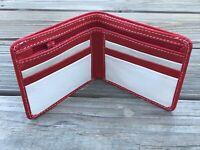 Christmas Wallet Men Bifold Red Card Holder Supreme Leather Handmade Purse