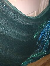 "1 MTR GREEN/TURQOISE ALL OVER SEQUIN TULLE FABRIC..58"" WIDE £8.99 SPECIAL OFFER"