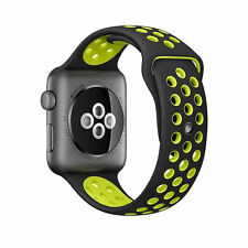 Silicone Rubber Wristband Strap For Apple i-Watch Size 42mm - Black Green