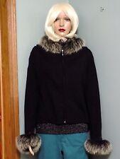 Carol Anderson black sweater, fox fur collar and cuffs, L, #968