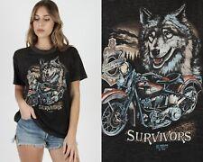 Vtg 1989 3D Emblem Harley Davidson Motorcycle Wolf Survivors Florida T Shirt L