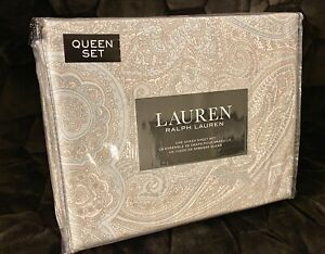Ralph Lauren Paisley Queen Sheet Set of 4 PC 100% Cotton New in Package