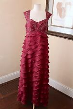 Camille La Vie Burgundy Ruffle Tiered Sequin Beaded Formal Gown Evening Dress 18