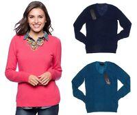 Enzo Mantovani Women's 100% Cashmere Long Sleeve V-Neck Pullover Sweater