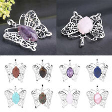 Natural Stone Butterfly Crystal Chakra Pendant Necklace Hollow Lucky Gift